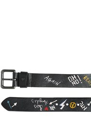 Htc Hollywood Trading Company 35Mm Hand Painted Graffiti Leather Belt
