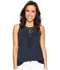 Lucky Brand Embroidered Washed Tank Top American Navy Women's Clothing