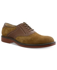 Bass Pomona Plain Toe Saddle Lace Up Shoes Men's Shoes Taupe Dark Brown