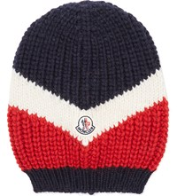 Moncler Flag Chunky Knit Oversized Beanie Red White Blue