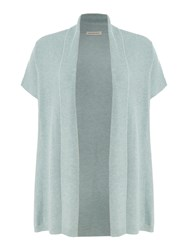 Repeat Cashmere Ribbed Shawl Open Cardigan Light Green