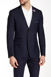 Paisley And Gray Navy Sharkskin Slim Fit 2 Button Lapel Blazer Blue