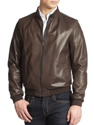 Salvatore Ferragamo Reversible Leather Bomber Jacket Castagna