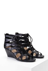 Forever 21 Faux Leather Lace Up Wedges