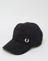 Fred Perry Pique Baseball Cap With Logo Black
