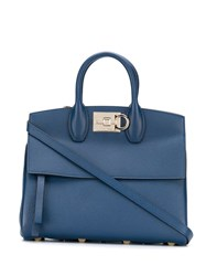 Salvatore Ferragamo Gancini Flip Lock Tote Bag Blue