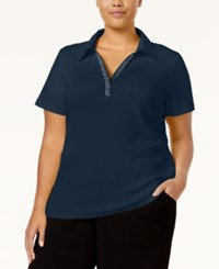 Karen Scott Plus Size Embellished Polo Top Only At Macy's Intrepid Blue