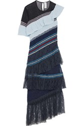 Peter Pilotto Octave Tiered Shirred Lace And Mesh Midi Dress Midnight Blue
