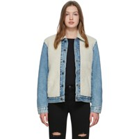 Levi's Levis Off White And Blue Sherpa Trucker Jacket