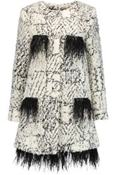 Ainea Feather Trimmed Boucle Coat White