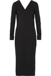 Jil Sander Wool Blend Ponte Midi Dress Black