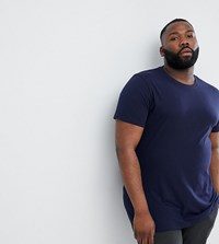 Asos Design Plus Longline T Shirt With Crew Neck Navy