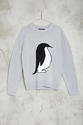 Forever 21 Penguin Graphic Sweater Heather Grey White