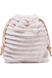 Clare V. Leather Trimmed Shearling Pouch Baby Pink