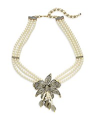 Heidi Daus Budding Bloom Faux Pearl Crystal Flower Pendant Necklace Gold Pearl