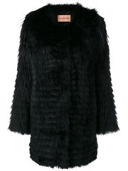 Yves Salomon Fur Midi Coat Black