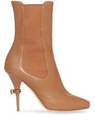 Burberry Leather Peep Toe Ankle Boots Brown
