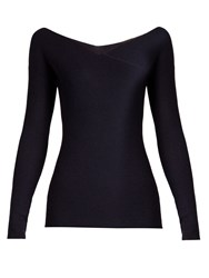 The Row Jinu Wrap Front Cashmere Sweater Navy