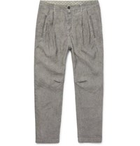 Massimo Alba Watercolour Dyed Striped Linen Trousers Gray