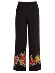 Etro Palazzo Floral Detail Wide Leg Silk Trousers Black Multi