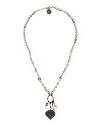 Love Heals Long Quartz Pearl And Bronze Pendant Necklace