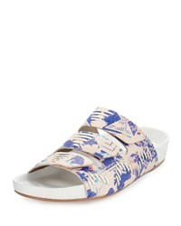 Cynthia Vincent Farcia Printed Slip On Sandal Blue Multi
