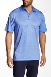 Cutter And Buck Beach Drive Print Polo Blue