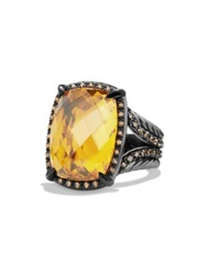 David Yurman Chatelaine Ring With Blue Topaz And Grey Diamonds Citrine