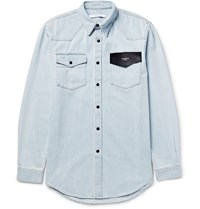 Givenchy Cuban Fit Leather Trimmed Denim Shirt Blue