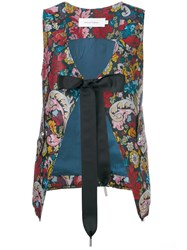 Marques Almeida Marques'almeida Floral Tied Waistcoat Women Polyester Acetate Cupro M Blue