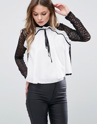 Tfnc High Neck Lace Blouse With Frill Front White And Black Multi