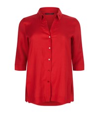 Marina Rinaldi Buttoned Linen Shirt Red