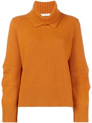 Dorothee Schumacher Ribbed Roll Neck Sweater Yellow And Orange