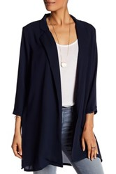 Bobeau Notch Lapel Woven Jacket Blue
