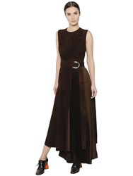 Sportmax Belted Suede And Pleated Satin Dress