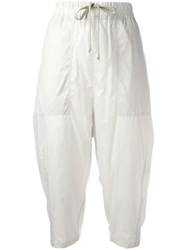 Rick Owens Drkshdw Cropped Casual Trousers Nude Neutrals