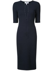 Derek Lam 10 Crosby Fitted Lace Front Dress Women Polyester Rayon M Blue