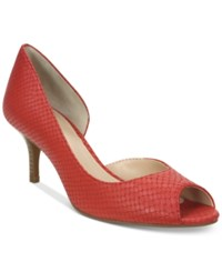 Tahari Jessie Peep Toe D'orsay Pumps Women's Shoes Blood Orange