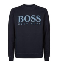Boss Orange Fade Logo Printed Sweatshirt Navy
