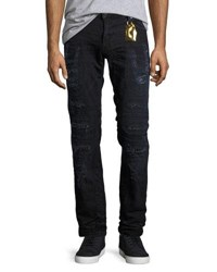 Robin's Jeans Distressed Moto Skinny Black Blue