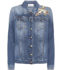 Red Valentino Appliqued Denim Jacket Blue