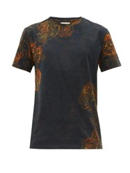 Etro Rose Print Cotton Jersey T Shirt Blue