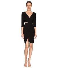 Versace Long Sleeve V Neck Knit Side Peek Dress Black
