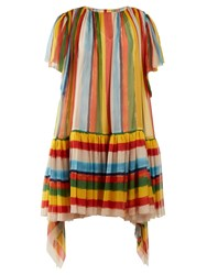 Dolce And Gabbana Striped Boat Neck Chiffon Mini Dress Multi