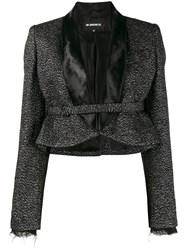 Ann Demeulemeester Glitter Embellished Cropped Jacket Women Nylon Polyester Rayon Virgin Wool 40 Black