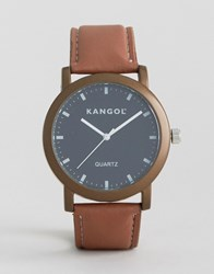 Kangol Tan Watch With Round Black Dial Brown