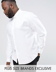 Noose And Monkey Plus Skinny Smart Shirt With Chain White