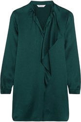 Max Mara Euforia Ruffled Crinkled Silk Satin Tunic Emerald