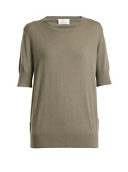 Allude Round Neck Cotton Blend T Shirt Light Brown
