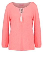 Grace Long Sleeved Top Neon Coral